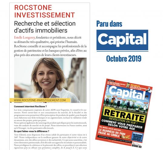 """Publication Capital – Octobre 2019  """"Recherche et sélection d'actifs immobiliers"""""""